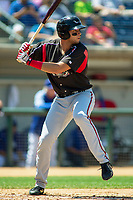 Lake Elsinore Storm Hudson Potts (15) at bat against the Rancho Cucamonga Quakes at LoanMart Field on May 28, 2018 in Rancho Cucamonga, California. The Storm defeated the Quakes 8-5.  (Donn Parris/Four Seam Images)