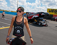 Sep 2, 2018; Clermont, IN, USA; Leah Pritchett with husband NHRA top alcohol funny car driver Gary Pritchett during qualifying for the US Nationals at Lucas Oil Raceway. Mandatory Credit: Mark J. Rebilas-USA TODAY Sports