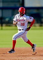 23 February 2019: Washington Nationals outfielder Victor Robles on the base path prior to a Spring Training game against the Houston Astros at the Ballpark of the Palm Beaches in West Palm Beach, Florida. The Nationals walked off with a 7-6 Opening Game win to start the Grapefruit League season. Mandatory Credit: Ed Wolfstein Photo *** RAW (NEF) Image File Available ***