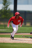 GCL Nationals Jaylen Hubbard (13) bats during a Gulf Coast League game against the GCL Astros on August 9, 2019 at FITTEAM Ballpark of the Palm Beaches training complex in Palm Beach, Florida.  GCL Nationals defeated the GCL Astros 8-2.  (Mike Janes/Four Seam Images)