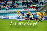 Kerry's Barry O'Mahony been tackled by Alan Douglas of Meath in the National hurling league in Austin Stack Park on Sunday