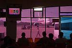 Gate 2 passengers wait at the international airport Yangon Myanmar ( Rangoon Burma ) South East Asia 2006.