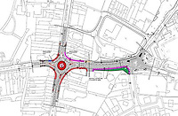 Pictured: The Council plan for the roundabout which hasn't been beuilt for over a year in Ammanford, Carmarthershire, Wales, UK. STOCK PICTURE<br /> Re: Pranksters have celebrated the first birthday of the non-existent roundabout in Ammanford, west Wales.<br /> Work to build the roundabout on the junction of Wind Street and Tirydail Lane began in February 2018 and is still causing disruption in the town.<br /> Residents have been left frustrated with the length of time it has taken to complete the road works.<br /> The frustration has led an unknown individual to stick balloons and birthday banners to signs and corns surrounding the construction area.<br /> A Facebook post featuring images of the decorated site has been shared by hundreds of users.
