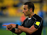 Referee Kader Zitouni during the 2018 FIFA World Cup Russia qualifying match between the NZ All Whites and Fiji  at Westpac Stadium in Wellington, New Zealand on Tuesday, 28 March 2016. Photo: Dave Lintott / lintottphoto.co.nz