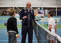 Rotterdam, The Netherlands, 07.03.2014. NOJK ,National Indoor Juniors Championships of 2014, Umpire explaining<br /> Photo:Tennisimages/Henk Koster