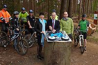 Sir Stuart Hampson , Alison Nimmo  and  John Deakin  cutting the cake. Swinley Forest ,  opening of the new trails  , May  2013.      pic copyright Steve Behr / Stockfile