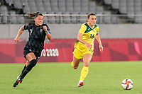 21st July 2021. Tokyo, Japan;  Ali Riley 7 from New Zealand and Hayley Raso 16 from Australia during the  Australia and New Zealand soccer game at the 2021 Tokyo Olympic Games held in Tokyo, Japan.