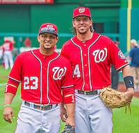 9 June 2013: Washington Nationals catcher Jhonatan Solano (left) poses with first baseman Chris Marrero prior to a game against the Minnesota Twins at Nationals Park in Washington, DC. The Nationals shut out the Twins 7-0 in the first game of their day/night double-header. Mandatory Credit: Ed Wolfstein Photo *** RAW (NEF) Image File Available ***