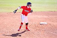 GREENSBORO, NC - FEBRUARY 22: Amanda Ulzheimer #7 of Fairfield University runs towards third base during a game between Fairfield and North Carolina at UNCG Softball Stadium on February 22, 2020 in Greensboro, North Carolina.