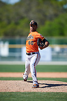 Baltimore Orioles pitcher Richard Rodríguez (60) delivers a pitch during a minor league Spring Training game against the Boston Red Sox on March 16, 2017 at the Buck O'Neil Baseball Complex in Sarasota, Florida.  (Mike Janes/Four Seam Images)