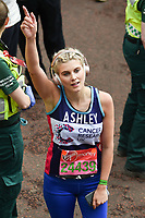 Ashley James<br /> at the finish line on The Mall at the 2017 London Marathon, London. <br /> <br /> <br /> ©Ash Knotek  D3254  23/04/2017