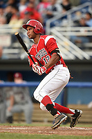 Batavia Muckdogs outfielder Kevin Grove (12) at bat during a game against the Mahoning Valley Scrappers on June 20, 2014 at Dwyer Stadium in Batavia, New York.  Batavia defeated Mahoning Valley 7-4.  (Mike Janes/Four Seam Images)