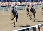 Capo Bastone (no. 3), ridden by Irad Ortiz Jr. and trained by Todd Pletcher, wins the 29th running of the grade 1 King's Bishop Stakes for three year olds on August 24, 2013 at Saratoga Race Course in Saratoga Springs, New York.  (Bob Mayberger/Eclipse Sportswire)