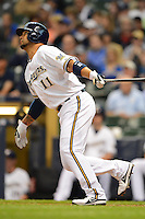 Milwaukee Brewers shortstop Alex Gonzalez #11 during a game against the Los Angeles Dodgers at Miller Park on May 22, 2013 in Milwaukee, Wisconsin.  Los Angeles defeated Milwaukee 9-2.  (Mike Janes/Four Seam Images)