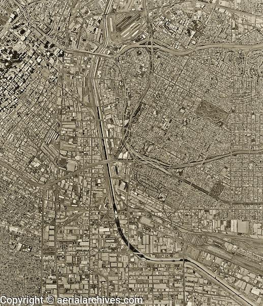 historical aerial photograph Los Angeles, California, 1994