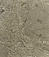 historical aerial photograph Los Angeles, California, 1994