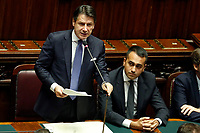 Giuseppe Conte during his speech  and Luigi Di Maio<br /> Rome September 9th 2019. Lower Chamber. Programmatic speech of the new appointed Italian Premier at the Chamber of Deputies to explain the program of the yellow-red executive. After his speech the Chamber is called to the trust vote at the new Government. <br /> Foto  Samantha Zucchi Insidefoto