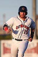 Brian Mundell (15) of the Lancaster JetHawks runs the bases during a game against the Lake Elsinore Storm at The Hanger on June 12, 2017 in Lancaster, California. Lancaster defeated Lake Elsinore, 13-6. (Larry Goren/Four Seam Images)
