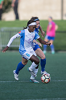 Allston, MA - Saturday August 19, 2017: Chioma Ubogagu, Morgan Andrews during a regular season National Women's Soccer League (NWSL) match between the Boston Breakers and the Orlando Pride at Jordan Field.