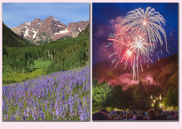 The Maroon Bells and fireworks in Aspen, Colorado. John offers photo tours throughout Colorado, year-round.