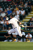 Bradenton Marauders catcher Reese McGuire (7) at bat during a game against the Jupiter Hammerheads on April 18, 2015 at McKechnie Field in Bradenton, Florida.  Bradenton defeated Jupiter 4-1.  (Mike Janes/Four Seam Images)