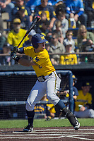 Michigan Wolverines outfielder Jonathan Engelmann (2) follows through on his swing against the Illinois Fighting Illini during the NCAA baseball game on April 8, 2017 at Ray Fisher Stadium in Ann Arbor, Michigan. Michigan defeated Illinois 7-0. (Andrew Woolley/Four Seam Images)