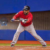 2 April 2016: Boston Red Sox catcher Sandy Leon in action during a pre-season exhibition game against the Toronto Blue Jays at Olympic Stadium in Montreal, Quebec, Canada. The Red Sox defeated the Blue Jays 7-4 in the second of two MLB weekend games, which saw a two-game series attendance of 106,102 at the former home on the Montreal Expos. Mandatory Credit: Ed Wolfstein Photo *** RAW (NEF) Image File Available ***
