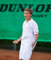 August 9, 2014, Netherlands, Rotterdam, TV Victoria, Tennis, National Junior Championships, NJK,  Final boys 14 years Alec Deckers (NED)  wins and celebrates<br /> Photo: Tennisimages/Henk Koster