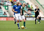 Hibs v St Johnstone…22.09.21  Easter Road.    SPFL<br />Shaun Rooney is tracked by Josh Doig<br />Picture by Graeme Hart.<br />Copyright Perthshire Picture Agency<br />Tel: 01738 623350  Mobile: 07990 594431