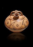 Minoan decorated stirrup jar, Malia Palace 1600-1450 BC; Heraklion Archaeological  Museum, black background.