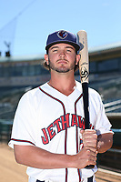Forrest Wall (7) of the Lancaster JetHawk poses for a photo during media day at The Hanger on April 3, 2017 in Lancaster, California. (Larry Goren/Four Seam Images)