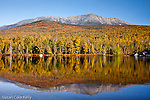 Mount Katahdin reflected in Round Pond in early autumn, Baxter State Park, ME
