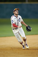 High Point-Thomasville HiToms third baseman Mac Starbuck (6) (Clemson) on defense against the Wilson Tobs at Finch Field on July 17, 2020 in Thomasville, NC. The Tobs defeated the HiToms 2-1. (Brian Westerholt/Four Seam Images)