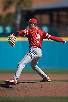 Miami Redhawks pitcher Zach Maxey (3) in action against the Connecticut Huskies at Springs Brooks Stadium on March 5, 2021 in Conway, South Carolina. The Huskies defeated the Redhawks 5-0. (Brian Westerholt/Four Seam Images)