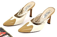 BNPS.co.uk (01202) 558833. <br /> Pic: Ewbank's/BNPS<br /> <br /> A pair of designer shoes the late Dame Barbara Windsor wore one set of Eastenders have emerged for sale.<br /> <br /> The size 3 stiletto shoes formed part of the wardrobe of her formidable character Peggy Mitchell on the BBC soap opera.<br /> <br /> As landlady of the Queen Vic, Dame barber would have worn these shoes as she walked up and down the bar yelling at unwanted punters to 'Get Outta My Pub!'