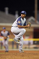Brooklyn Cyclones relief pitcher Gabriel Feliz (40) during a game against the Batavia Muckdogs on July 6, 2016 at Dwyer Stadium in Batavia, New York.  Batavia defeated Brooklyn 15-2.  (Mike Janes/Four Seam Images)