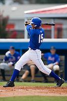 Burlington third baseman Antonio Jimenez (15) follows through on his swing versus Kingsport at Burlington Athletic Park in Burlington, NC, Monday, July 30, 2007.