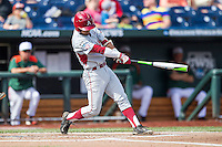 Arkansas Razorbacks second baseman Rick Nomura (1) swings the bat during the NCAA College baseball World Series against the Miami Hurricanes on June 15, 2015 at TD Ameritrade Park in Omaha, Nebraska. Miami beat Arkansas 4-3. (Andrew Woolley/Four Seam Images)