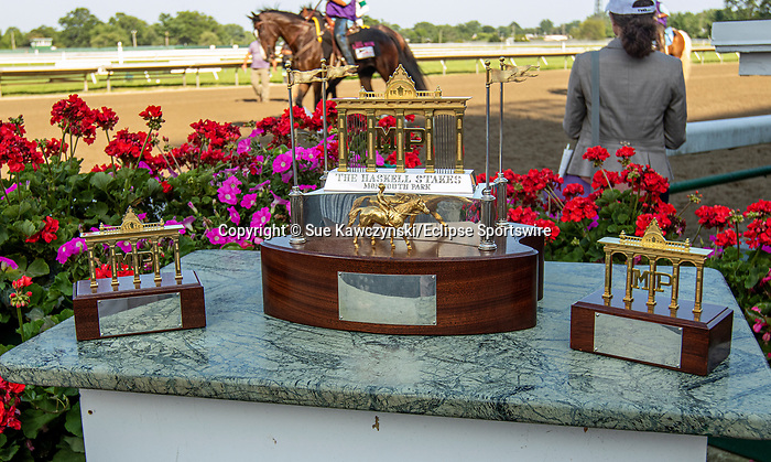 JULY 17, 2021:Trophy for  Haskell Stakes,via disqualification, going 1 1/8  mile, at Monmouth Park in Oceanport, NJ.  Sue Kawczynski/Eclipse Sportswire/CSM