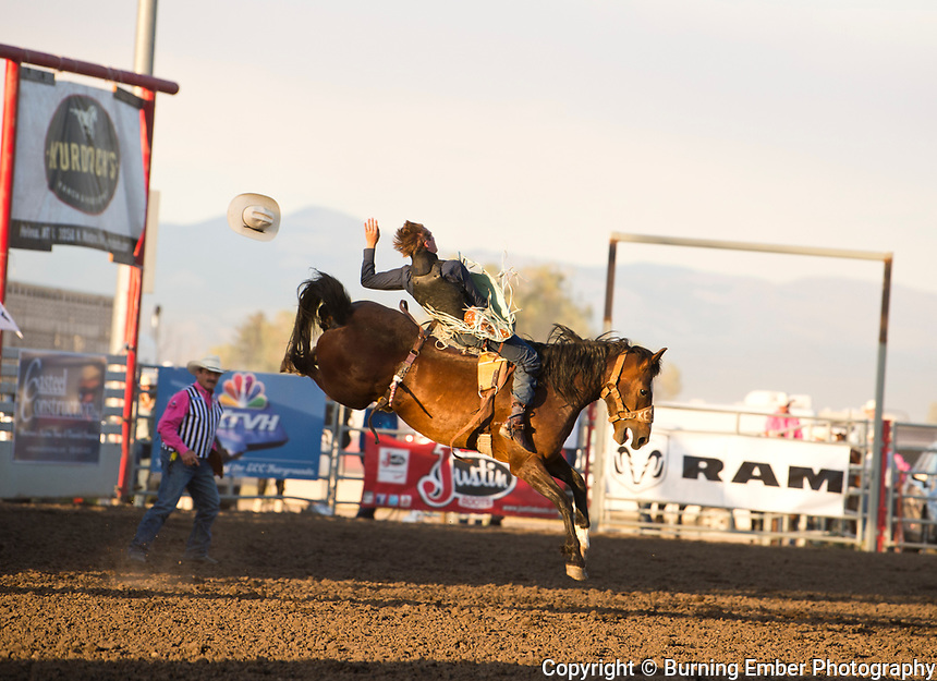 Jake Kesl on Kesler bucking horse Make Believe at the Helena MT Last Chance Stampede 2nd perf July 26th 2019.  Photo by Josh Homer/Burning Ember Photography.  Photo credit must be given on all uses.