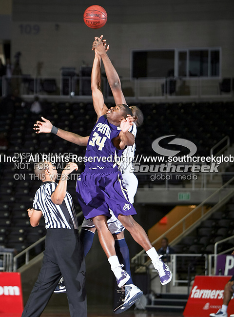 Prairie View A & M Panthers forward Brandon Webb (34) in action during the SWAC Tournament game between the Prairie View A & M Panthers and the Jackson State Tigers at the Special Events Center in Garland, Texas. Jackson State defeats Prairie View A & M 50 to 38.