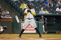 Rodolfo Castro (14) of the West Virginia Power at bat against the Greensboro Grasshoppers at First National Bank Field on June 1, 2018 in Greensboro, North Carolina. The Grasshoppers defeated the Power 10-3. (Brian Westerholt/Four Seam Images)