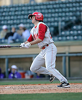 Second baseman Matt Packer (24) of the Miami (Ohio) Redhawks hits in a game against the Furman Paladins on Sunday, February 17, 2013, at Fluor Field at the West End in Greenville, South Carolina. Furman won, 6-5. (Tom Priddy/Four Seam Images).