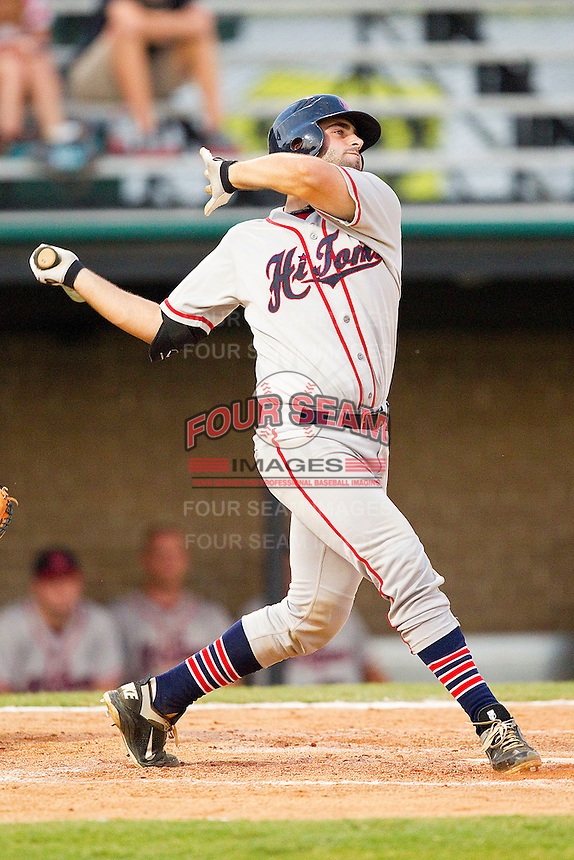 Ryan Kinsella #32 of the Thomasville HiToms follows through on his swing against the Gastonia Grizzlies at Sims Legion Park on June 2, 2011 in Gastonia, North Carolina.  The Hi-Toms defeated the Grizzlies 9-4.  Photo by Brian Westerholt / Four Seam Images