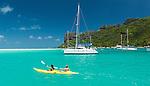 Kayaking in Maupiti lagoon, French Polynesia