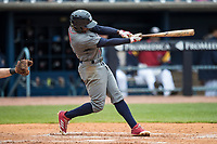 Lehigh Valley IronPigs outfielder Roman Quinn (2) swings the bat against the Toledo Mud Hens during the International League baseball game on April 30, 2017 at Fifth Third Field in Toledo, Ohio. Toledo defeated Lehigh Valley 6-4. (Andrew Woolley/Four Seam Images)