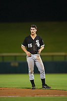 AZL White Sox right fielder JJ Muno (15) stands on the field between innings of the game against the AZL Cubs on August 13, 2017 at Sloan Park in Mesa, Arizona. AZL White Sox defeated the AZL Cubs 7-4. (Zachary Lucy/Four Seam Images)