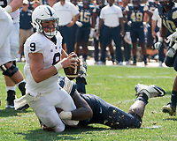 Pitt defensive lineman Shakir Soto sacks Penn State quarterback Trace McSorley. The Pitt Panthers defeated the Penn State Nittany Lions 42-39 at Heinz Field, Pittsburgh, Pennsylvania on September 10, 2016.