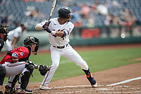 Auburn Tigers shortstop Will Holland (17) at bat during Game 7 of the NCAA College World Series against the Louisville Cardinals on June 18, 2019 at TD Ameritrade Park in Omaha, Nebraska. Louisville defeated Auburn 5-3. (Andrew Woolley/Four Seam Images)