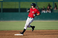 Casey Schroeder (17) of the Kannapolis Intimidators pulls up at second base after hitting a double against the Delmarva Shorebirds at Kannapolis Intimidators Stadium on July 2, 2017 in Kannapolis, North Carolina.  The Shorebirds defeated the Intimidators 5-4.  (Brian Westerholt/Four Seam Images)
